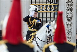 © London News Pictures. 30/05/2015. London, UK. Major General Ed Smyth-Osbourne, the General Officer Commanding The Household Division salutes the troops on horse back. The Major General's Review on Horse Guards Parade, London. 5,500 spectators filled the stands to witness the first of three annual world class military demonstrations that culminate with the Queen's Birthday Parade on 13th June. Photo credit: Sergeant Rupert Frere/LNP