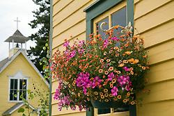 Summer blossoms in a window box, Breckenridge in Summit County, Colorado.