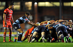 Lloyd Williams (Blues) looks to put the ball into a scrum - Photo mandatory by-line: Patrick Khachfe/JMP - Mobile: 07966 386802 29/08/2014 - SPORT - RUGBY UNION - Leicester - Welford Road - Leicester Tigers v Cardiff Blues - Pre-Season Friendly
