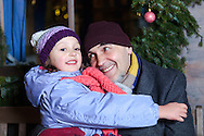 Grandfather, Granddaughter, Happiness, Affectionate, Christmas Market,