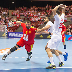 09.04.2016, Ergo Arena, Gdansk, POL, IHF Herren, Olympia Qualifikation, Mazedonien vs Tunesien, im Bild Stojanche Stoilov, Mohamed Soussi // during the IHF men's Olympic Games handball qualifier between Macedonia and Tunisia at the Ergo Arena in Gdansk, Poland on 2016/04/09. EXPA Pictures © 2016, PhotoCredit: EXPA/ Newspix/ Tomasz Zasinski<br /> <br /> *****ATTENTION - for AUT, SLO, CRO, SRB, BIH, MAZ, TUR, SUI, SWE only*****