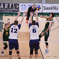 3rd year outside hitter Dalton Wolfe (9) of the Regina Cougars during the home game on January 6 at Centre for Kinesiology, Health and Sport. Credit: Arthur Ward/Arthur Images
