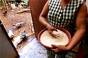 024214.SP.0114.ramon9.kc--COTUI, Dominican Republic--Anaheim Angel Pitcher Ramon Ortiz' mother,  Cleotilde, holds a large bowl full of rice as she prepares dinner with ducks and chickens outside the kitchen doorway. Ramon Ortiz grew up in this small home in the Dominican Republic near Cotui.