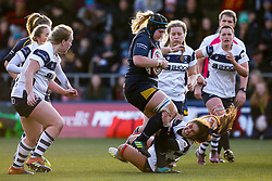 Lauren Leatherland of Worcester Warriors Women is tackled by Daisie Mayes of Bristol Bears Women - Mandatory by-line: Robbie Stephenson/JMP - 01/12/2019 - RUGBY - Sixways Stadium - Worcester, England - Worcester Warriors Women v Bristol Bears Women - Tyrrells Premier 15s