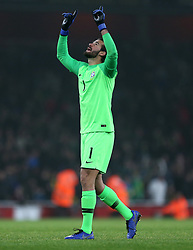 Brazil's Alisson celebrates after the final whistle during the International Friendly match at the Emirates Stadium, London. PRESS ASSOCIATION Photo. Picture date: Friday November 16, 2018. See PA story SOCCER Brazil. Photo credit should read: Steven Paston/PA Wire