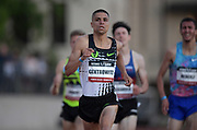 May 17, 2018; Los Angeles, CA, USA; Matt Centrowitz defeats Kyle Merber to win a 1,500m heat in 3:38.99 to 3:39.15 during the USATF Distance Classic at Occidental College.