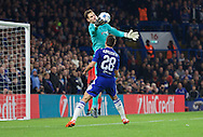 Goalkeeper Asmir Begovic of Chelsea gathers the ball during the UEFA Champions League match at Stamford Bridge, London<br /> Picture by Alan Stanford/Focus Images Ltd +44 7915 056117<br /> 04/11/2015