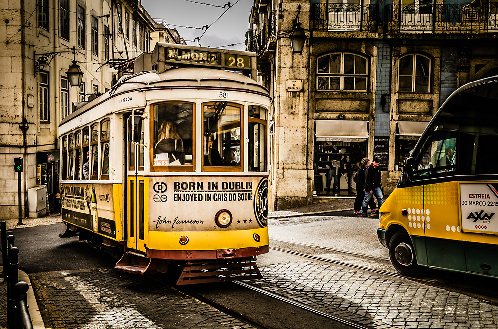 One of the few old trams still running in Lisbon.