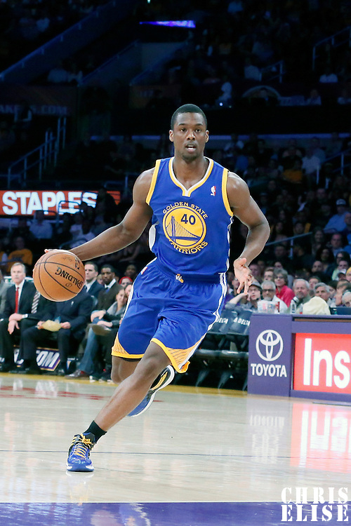 11 April 2014: Golden State Warriors forward Harrison Barnes (40) dribbles during the Golden State Warriors 112-95 victory over the Los Angeles Lakers at the Staples Center, Los Angeles, California, USA.
