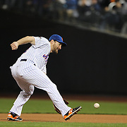 Daniel Murphy, New York Mets, fielding at second base during the New York Mets Vs Los Angeles Dodgers, game four of the NL Division Series at Citi Field, Queens, New York. USA. 13th October 2015. Photo Tim Clayton