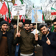 The Iranian Kurds protest against Usurp Islamic Regime of Iran outside the Embassy of The Islamic Republic of Iran in London, UK 10 Feb 2019.