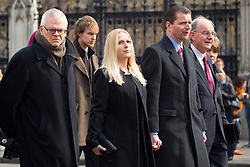 © licensed to London News Pictures. London, UK 27/03/2014. Family and friends of Tony Benn leaving Houses of Parliament ahead of his funeral at Margaret's Church, Westminster, London. Former cabinet minister and veteran left-wing campaigner Tony Benn died at home on March 14th following a long term illness. Photo credit: Tolga Akmen/LNP