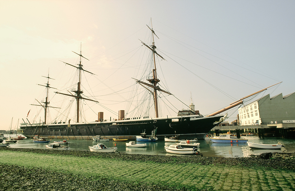 HMS Warrior at Portsmouth Historic Dockyard, Hampshire, England. Launched 1860. Britains first iron hulled armoured warship.