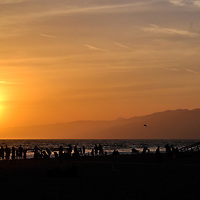 Santa Monica Beach at sunset, Los Angeles, CA