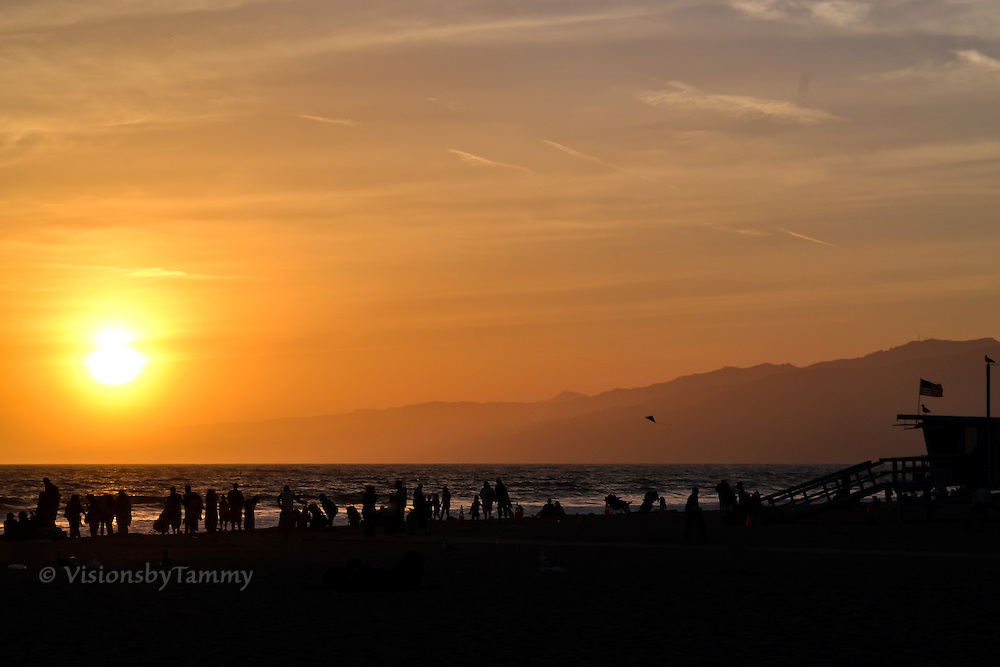 Santa Monica Beach at sunset, Los Angeles, CA
