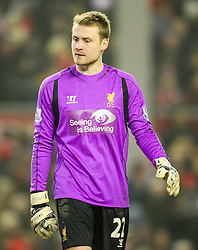 Liverpool's Simon Mignolet looks dejected after conceding the equaliser 2-2- Photo mandatory by-line: Matt McNulty/JMP - Mobile: 07966 386802 - 10/02/2015 - SPORT - Football - Liverpool - Anfield - Liverpool v Tottenham Hotspur - Barclays Premier League
