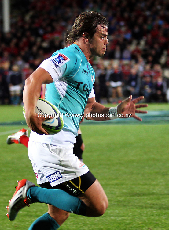 Francois Venter of the Cheetahs runs in a try during the Investec Super Rugby game between the Crusaders v Cheetahs at AMI Stadium in Christchurch. 21 March 2015 Photo: Joseph Johnson/www.photosport.co.nz