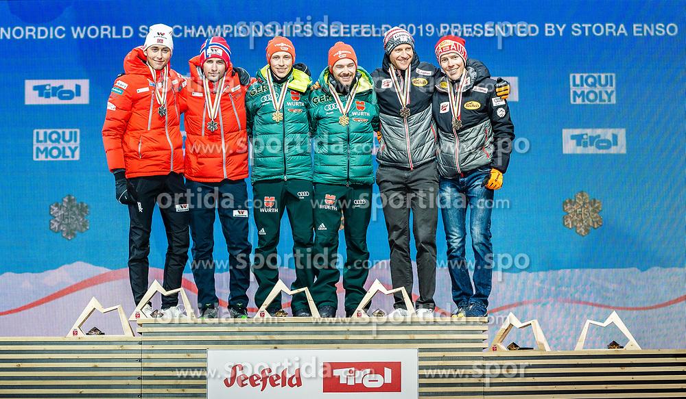 24.02.2019, Medal Plaza, Seefeld, AUT, FIS Weltmeisterschaften Ski Nordisch, Seefeld 2019, Nordischen Kombination, Teambewerb, Siegerehrung, im Bild v.l. Silbermedaillengewinner Jan Schmid, Jarl Magnus Riiber (NOR), Weltmeister und Goldmedaillengewinner Eric Frenzel, Fabian Riessle (GER), Bronzemedaillengewinner Franz-Josef Rehrl, Bernhard Gruber (AUT) // f.l. Silver medalist Jan Schmid Jarl Magnus Riiber of Norway World champion and Gold medalist Eric Frenzel Fabian Riessle of Germany and Bronce medalist Franz-Josef Rehrl Bernhard Gruber of Austria during the winner ceremony for the team competition Nordic Combined of FIS Nordic Ski World Championships 2019 at the Medal Plaza in Seefeld, Austria on 2019/02/24. EXPA Pictures © 2019, PhotoCredit: EXPA/ Stefan Adelsberger