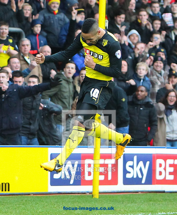 Picture by John Rainford/Focus Images Ltd +44 7506 538356<br /> 26/12/2013<br /> Lewis McGugan of Watford celebrates converting a penalty against Millwall during the Sky Bet Championship match at Vicarage Road, Watford.