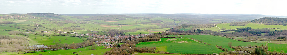 View of French countryside from hilltop village of Vazelay in Bourgogne, France