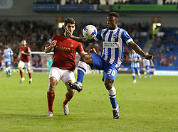 Kazenga LuaLua of Brighton & Hove Albion and Eric Lichaj of Nottingham Forest challenge for the ball - Mandatory byline: Paul Terry/JMP - 07966386802 - 07/08/2015 - FOOTBALL - Falmer Stadium -Brighton,England - Brighton v Nottingham Forest - Sky Bet Championship