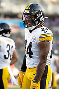Pittsburgh Steelers running back Benny Snell (24) in warms  up before an NFL football game against the Los Angeles Chargers. The Steelers defeated the Chargers 24-17 on  Sunday, Oct. 13, 2019, in Carson, Calif. (Ed Ruvalcaba/Image of Sport)
