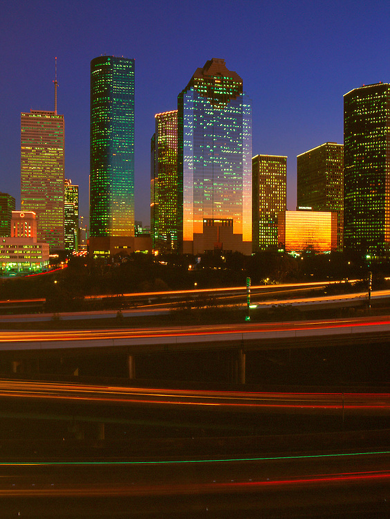 Houston, Texas skyline from the west at night.