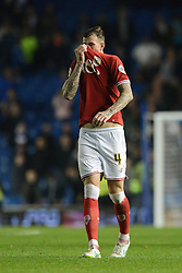 Aden Flint of Bristol City cuts a dejected figure as his side lose 2-1 - Mandatory byline: Dougie Allward/JMP - 07966 386802 - 20/10/2015 - FOOTBALL - American Express Community Stadium - Brighton, England - Brighton v Bristol City - Sky Bet Championship