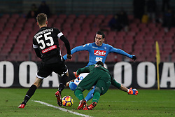 December 19, 2017 - Naples, Italy - JOSE' CALLEJON (SSC Napoli) and goalkeeper SIMONE SCUFFET (Udinese Calcio) and PAWEL BOCHNIEWICZ (Udinese Calcio) in action during the TIM Cup match between SSC Napoli and Udinese Calcio at Stadio San Paolo on December 19, 2017 in Naples, Italy. (Credit Image: © Paolo Manzo/NurPhoto via ZUMA Press)