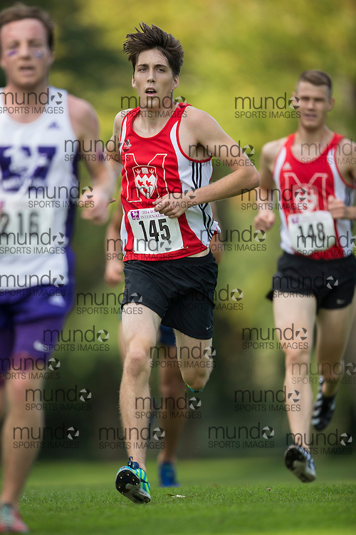 Santiago Bessai of the Mcgill Redmen runs at the 2014 Western International Cross country meet in London Ontario, Saturday,  September 20, 2014.<br /> Mundo Sport Images/ Geoff Robins