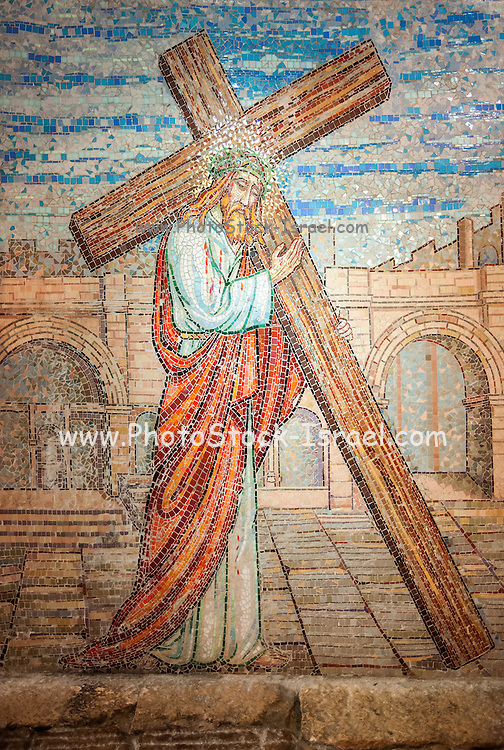 Modern Mosaic artwork of Jesus Christ in The monastery of Les Soeurs de Notre-Dame de Sion (Sisters of Our Lady of Zion) in the old city of Jerusalem, Israel