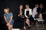 LISA GUNNING; ALISON GOLDFRAPP, The Summer party 2011 co-hosted by Burberry. The Summer pavilion designed by Peter Zumthor. Serpentine Gallery. Kensington Gardens. London. 28 June 2011. <br /> <br />  , -DO NOT ARCHIVE-© Copyright Photograph by Dafydd Jones. 248 Clapham Rd. London SW9 0PZ. Tel 0207 820 0771. www.dafjones.com.