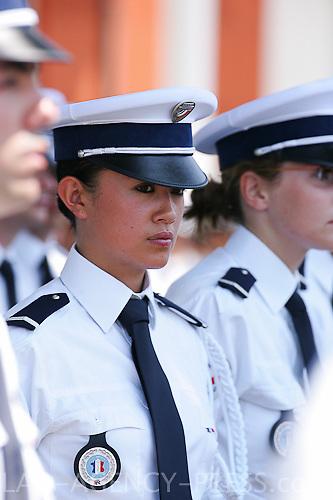 Sortie de la 222ieme promotion de L'ENP Nîmes; Anne-Marie Na Champassak, d'origine laotienne, signe d'intégration et de diversité au sein de la police nationale