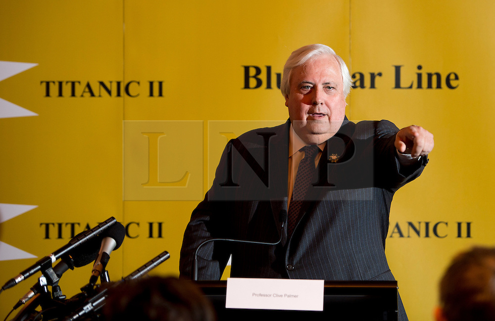 © London News Pictures. 02/03/2013 . London, UK.  Australian billionaire Clive Palmer speaking at a press conference at The Ritz hotel, London for the unveiling of plans to build a an almost-exact replica of the ill-fated Titanic cruise ship. The Titanic II with travel from China to Southampton to New York.  Photo credit : Ben Cawthra/LNP