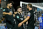 Goal - Glenn Murray (17) of Brighton and Hove Albion celebrates scoring a goal to make the score 1-2 with Aaron Connolly (44) of Brighton and Hove Albion during the EFL Cup match between Bristol Rovers and Brighton and Hove Albion at the Memorial Stadium, Bristol, England on 27 August 2019.