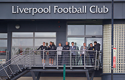 KIRKBY, ENGLAND - Saturday, August 31, 2019: Liverpool's Matt Critchley and staff during the Under-18 FA Premier League match between Liverpool FC and Manchester United at the Liverpool Academy. (Pic by David Rawcliffe/Propaganda)