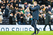 Graham Potter, Head Coach of Brighton & Hove Albion FC thanking the Brighton & Hove Albion FC supporters at the end of the Premier League match between Tottenham Hotspur and Brighton and Hove Albion at Tottenham Hotspur Stadium, London, United Kingdom on 26 December 2019.