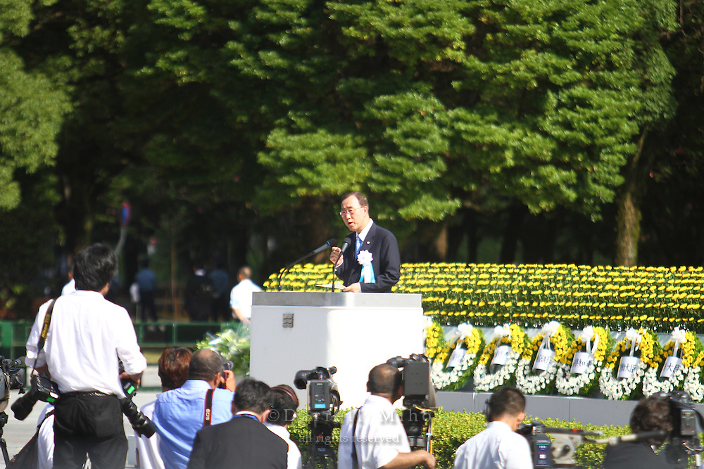 Aug. 06, 2010 ; Hiroshima, JPN - United Nations Secretary General Ban Ki-Moon gives his speech at the 2010 Hiroshima Peace Memorial Ceremony in Peace Park...Ban is the first UN Security General to attend the Peace Ceremony.