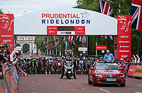 A view of the start line on The Mall for The Prudential RideLondon Classique. Saturday 28th July 2018<br /> <br /> Photo: Bob Martin for Prudential RideLondon<br /> <br /> Prudential RideLondon is the world's greatest festival of cycling, involving 100,000+ cyclists - from Olympic champions to a free family fun ride - riding in events over closed roads in London and Surrey over the weekend of 28th and 29th July 2018<br /> <br /> See www.PrudentialRideLondon.co.uk for more.<br /> <br /> For further information: media@londonmarathonevents.co.uk