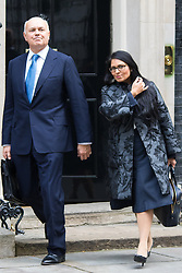 Downing Street, London, October 27th 2015.  Work and Pensions Secretary Iain Duncan-Smith and Employment Minister Priti Patel leave 10 Downing Street after attending the weekly cabinet meeting.