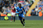 Leicester City midfielder NGolo Kante (14)  during the Barclays Premier League match between Leicester City and West Ham United at the King Power Stadium, Leicester, England on 17 April 2016. Photo by Simon Davies.