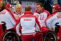 Andrey Smirnov, Alexander Shevchenko, Oxana Slesarenko, Wheelchair Curling Semi Finals at the 2014 Sochi Winter Paralympic Games, Russia