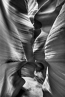 Antelope slot canyon sandstone textures created by years of erosion. Black and white vertical landscape.