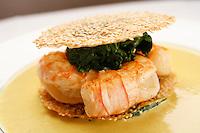 l'Ambroisie, Chef Bernard Pacaud, Place des Vosges, Paris....l'Ambroisie is a Michelin three star restaurant......Feuillantine de queues de langoustines aux graines de sésame, sauce curry.. ............................