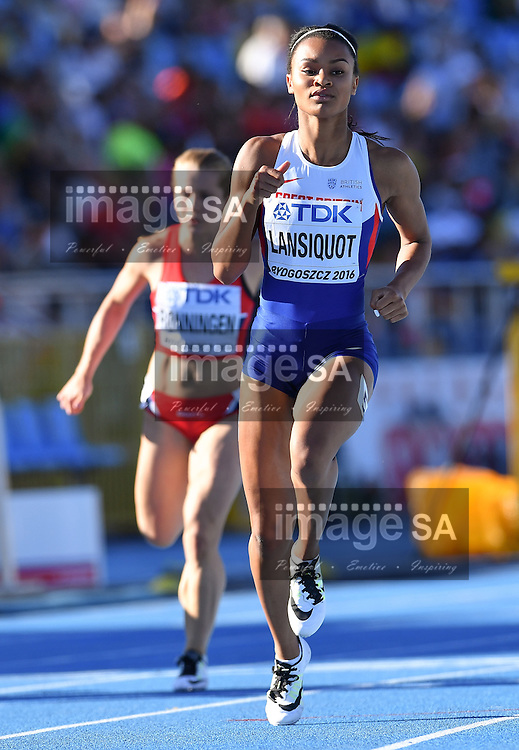 BYDGOSZCZ, POLAND - JULY 21: Imani-Lara Lansiquot of Great Britain in the semi final of the women's 100m during the evening session on day 3 of the IAAF World Junior Championships at Zawisza Stadium on July 21, 2016 in Bydgoszcz, Poland. (Photo by Roger Sedres/Gallo Images)