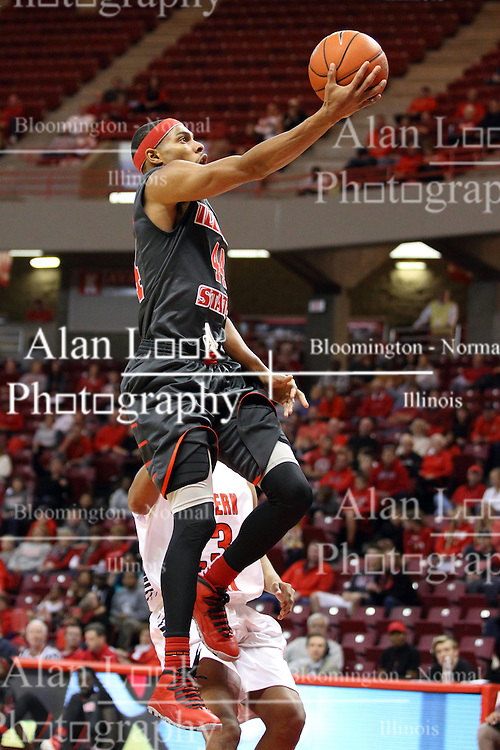 08 November 2015: DeVaughn Akoon-Purcell(44) scoops it to the hoop. Illinois State Redbirds host the Southern Indiana Screaming Eagles and beat them 88-81 in an exhibition game at Redbird Arena in Normal Illinois (Photo by Alan Look)