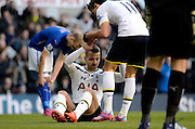 Roberto Soldado after being brought down for penalty during the The FA Cup match between Tottenham Hotspur and Leicester City at White Hart Lane, London, England on 24 January 2015. Photo by Alan Franklin.