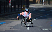 London. United Kingdom. 2014 London Marathon. wheel chair race, No. 56<br /> Stuart BLOOR, GBR, through  Narrow Street, Limehouse, East London. Athletics 10:00:25  Sunday  13/04/2014  [Mandatory Credit; Peter SPURRIER/ Intersport Images],