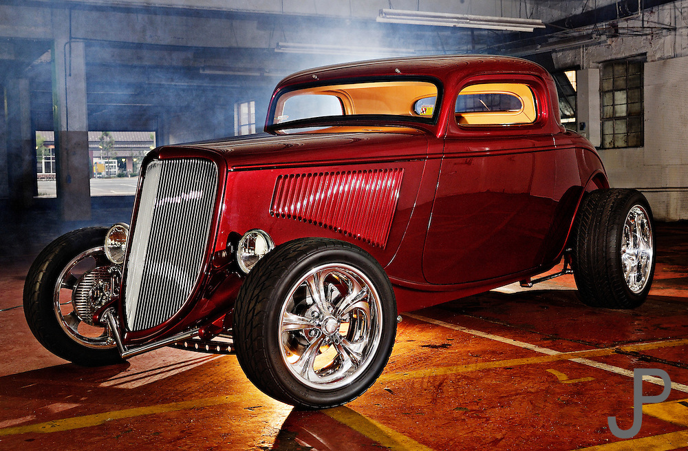 1936 Ford Coupe hot rod car in downtown Oklahoma City parking garage