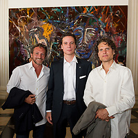 "Ray Parish  (L)  Patrick Marinoff (CEO Maybach) (C)  and Artist Vahakn Arslanian (R) at the press preview of Julian Schnabel - ""Permanently Becoming And The Architecture Of Seeing"" part of 54th International Art Biennale in Venice"